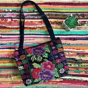 Vintage ~ Floral needlepoint patchwork bag